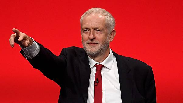Britain's opposition Labour Party Leader Jeremy Corbyn waves after delivering his keynote speech at the Labour Party Conference in Brighton, Britain, September 27, 2017.