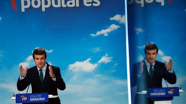 Pablo Casado en una conferencia de prensa dos días después de las elecciones generales de España en Madrid