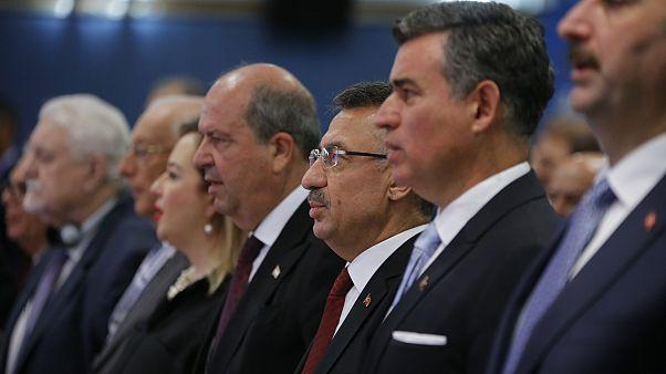 Cumhurbaşkanı Yardımcısı Fuat Oktay ve Kuzey Kıbrıs Türk Cumhuriyeti (KKTC) Başb
