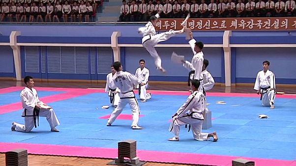 Показательные выступления мастеров тхэквондо в Пхеньяне
