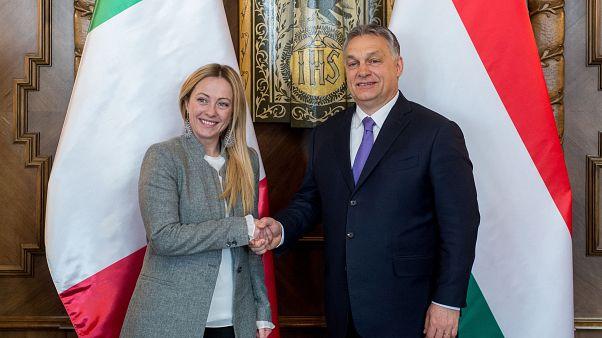 Orbán Viktor miniszterelnök fogadja Giorgia Melonit, az Olaszország Fívérei párt elnökét az Országházban 2018. február 28-án