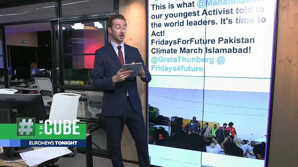 The Cube airs a segment on climate marches across the globe, 20 September 2019