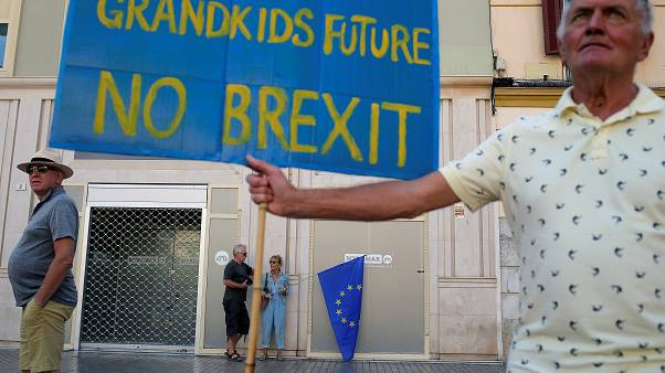 A man holds a banner as British residents in Spain take part in an anti-Brexit demonstration, in Malaga, Spain September 22, 2019.