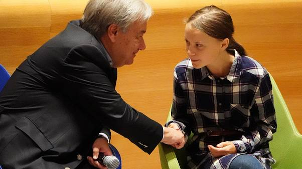 Secretary-General of the United Nations Antonio Guterres shakes hands with Swedish environmental activist Greta Thunberg, ew York, U.S., September 21, 2019