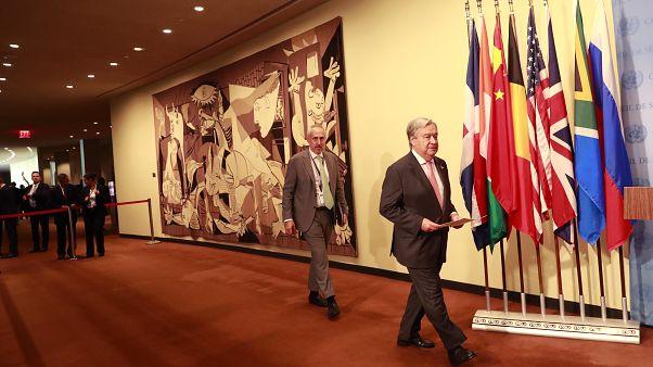 الأمين العام للأمم المتحدة غوتيريس يصل لقمة الأمم المتحدة للعمل المناخي لعام 2019 في مقر الأمم المتحدة بنيويورك