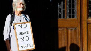 امرأة خارج المحكمة البريطانية العليا تتظاهر ضد تعليق رئيس الحكومة بوريس جونسون للبرلمان