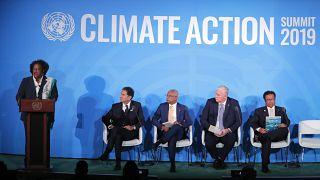 رئيسة وزراء بربادوس ميا موتلي خلال قمة الأمم المتحدة للعمل المناخي لعام 2019 في مقر الأمم المتحدة في نيويورك