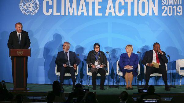 Türkiye Cumhurbaşkanı Recep Tayyip Erdoğan, New York'ta düzenlenen BM İklim Zirvesi'ne katılarak konuşma yaptı.