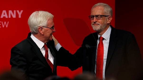 British Labour MP John McDonnell greets party leader Jeremy Corbyn on stage during the Labour party annual conference in Brighton, Britain September 23, 2019.