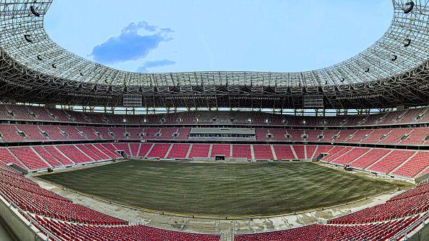 Az új Puskás Aréna belső panorámaképe az építés utolsó fázisában, 2019. szeptember 6-án.