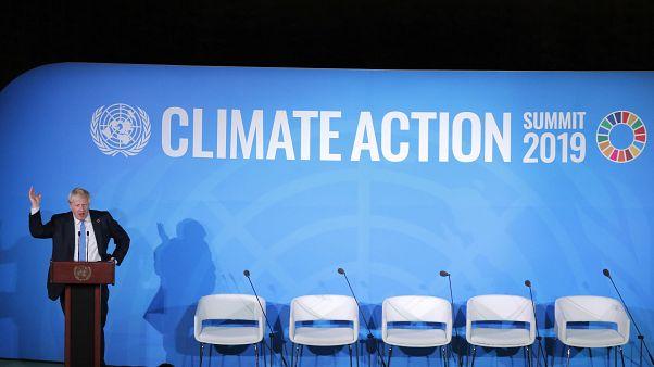 رئيس الوزراء البريطاني بوريس جونسون خلال قمة الأمم المتحدة للعمل المناخي لعام 2019 في مقر الأمم المتحدة في مدينة نيويورك