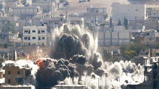 ABD önclüğündeki Koalisyon güçlerinin Kobani'ye düzenlediği hava saldırısı
