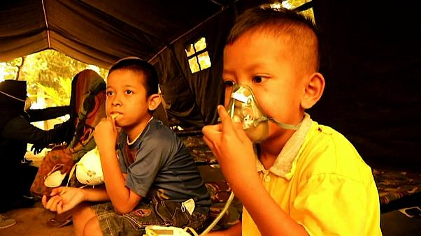 Des enfants sous assistance respiratoire, dans la province de Jambi en Indonésie.