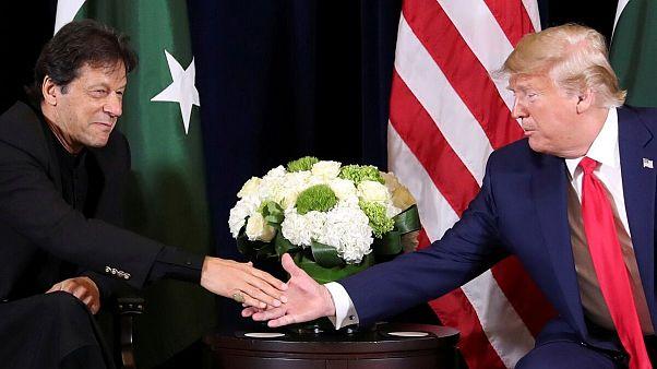 عمران خان، نخست وزیر پاکستان و دونالد ترامپ، رئیس جمهوری ایالات متحده آمریکا در حاشیه چهل و پنجمین نشست مجمع همگانی سازمان ملل متحد در نیویورک