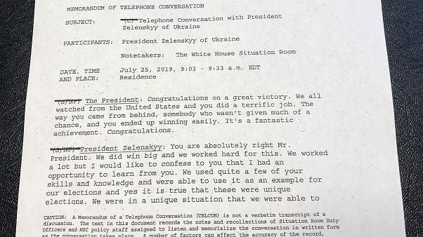 Primera página de la transcripción publicada por la Casa Blanca.