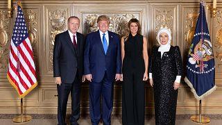 Cumhurbaşkanı Recep Tayyip Erdoğan ve eşi Emine Erdoğan,  ABD Başkanı Donald Trump ve eşi Melania Trump