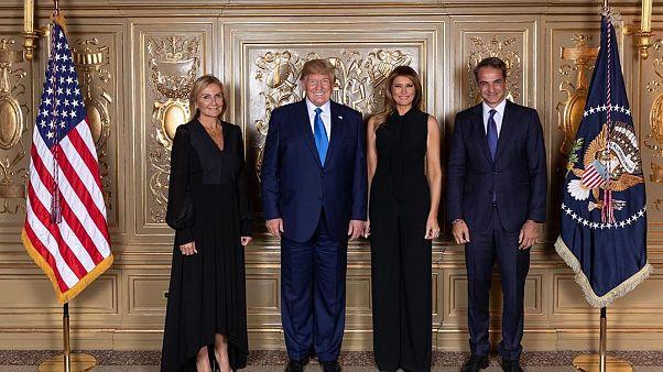 Το ζεύγος Μητσοτάκη στην δεξίωση των Τραμπ