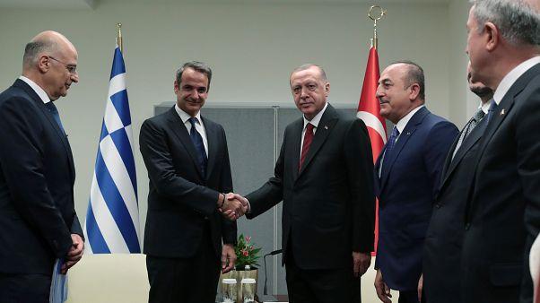 Cumhurbaşkanı Erdoğan New York ziyaretinde Yunanistan Başbakanı Mitsotakis'i kabul etmişti
