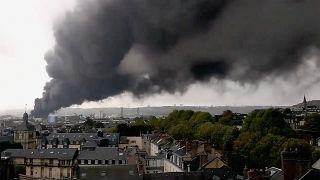 Последствия пожара на химзаводе в Руане