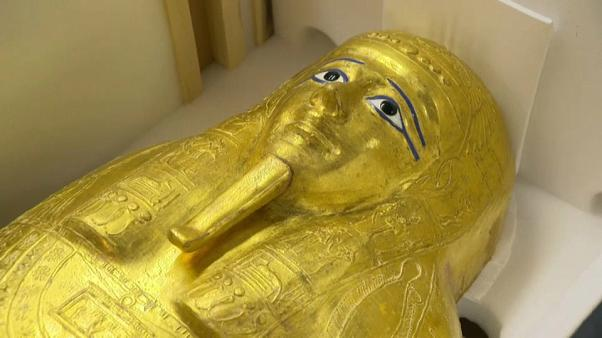 Watch: Metropolitan Museum of Art's stolen gilded coffin returned to Egypt from New York