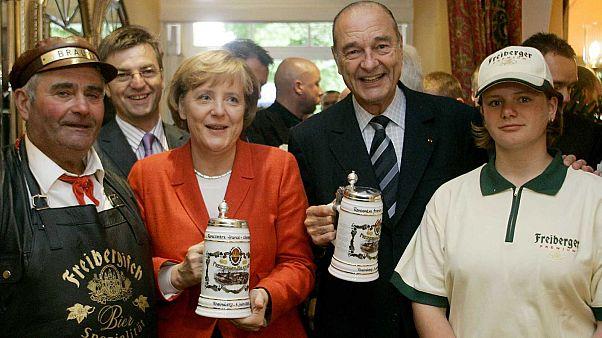 Jacques Chirac et Angela Merkel, à Rheinsberg en Allemagne, le 6 juin 2006