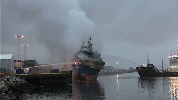 Russian trawler carrying 200,000 litres of diesel bursts into flames in a Norwegian port