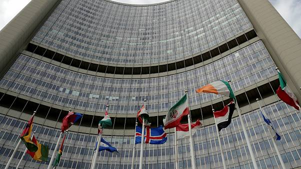 پرچم ایران مقابل مقر سازمان بین المللی انرژی اتمی