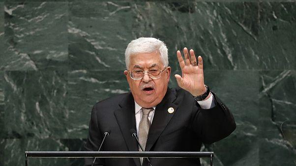 الرئيس الفلسطيني محمود عباس خلال إلقاء كلمته أمام الجمعية العامة للأمم المتحدة 26 سبتمبر 2019