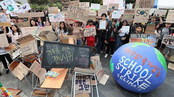 Protesta estudiantil en Corea del Sur contra el cambio climático