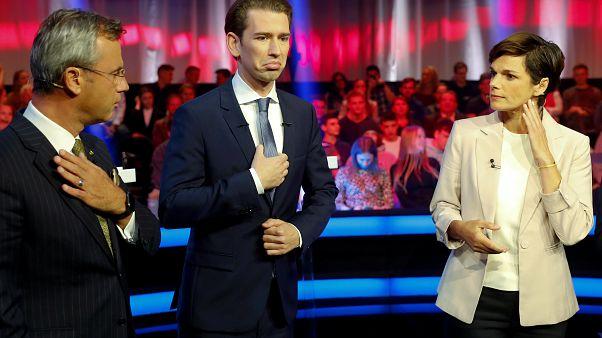 مرشح حزب الحرية  نوربرت هوفر ومرشح حزب الشعب سيباستيان كورز وزعيم حزب الديمقراطيين الاجتماعيين باميلا ريندي- فاغنر فيينا، النمسا 22 سبتمبر 2019