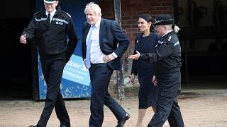Britain's Prime Minister Boris Johnson visits West Yorkshire Police Training and Development Centre.