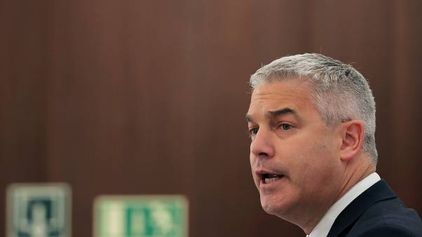 Britain's Brexit Secretary Stephen Barclay delivers a speech during a breakfast meeting in Madrid, Spain, September 19, 2019.