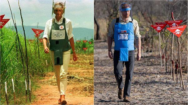 El príncipe Enrique tras los pasos de su madre Diana: La misma foto en Angola, 22 años entre ambas