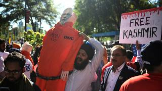 Demonstrators hold 'Stand with Kashmir' protest outside UN building in New York