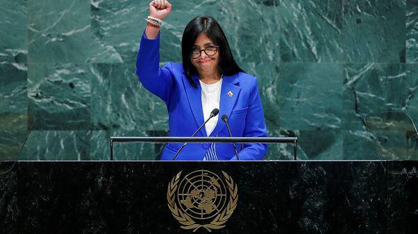 نائبة رئيس فنزويلا ديسي رودريغيز تلقي كلمة في الدورة 74 للأمم المتحدة بنيويورك