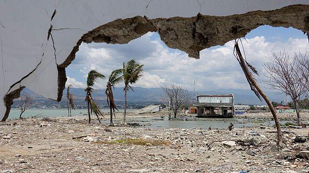الأضرارالتي خلفتها تسونامي بالمباني بعد مرور عام تقريباً في بالو، إندونيسيا، 26 سبتمبر 2019