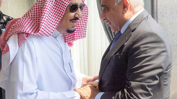 Prince Salman of Saudi Arabia, pictured here with the Iraqi prime minister (right)