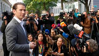 Sebastian Kurz after casting his vote in Austria's elections