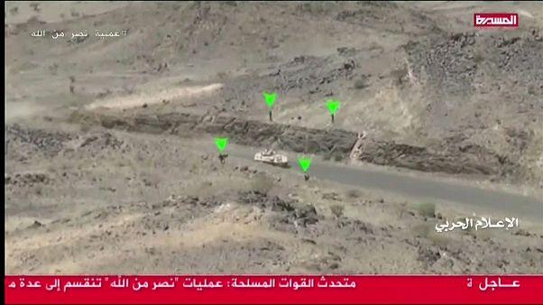 مجتزأ من فيديو نشره الحوثيون عما قالوا إنه كمين نصبوه للقوات السعودية