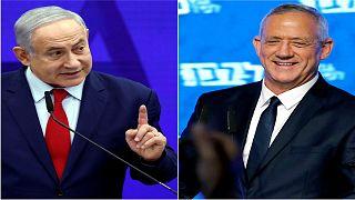 رئيس حزب الليكود بنيامين نتنياهو ورئيس تحالف أزرق أبيض بيني غانتس