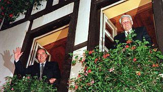 Jacques Chirac  y su homólogo ruso de la época Boris Yeltsin en el Chez Yvonne, el 9 de octubre de 1997.