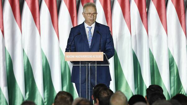 Trócsányi László a Fidesz EP-választási kampánynyitó rendezvényén áprilisban