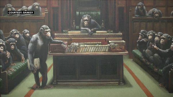 """لوحة بانسكي """"سياسيون قردة"""" قريبا في مزاد لندن"""