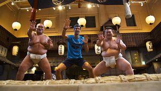 Novak Djokovic tries sumo wrestling ahead of the Japan Open