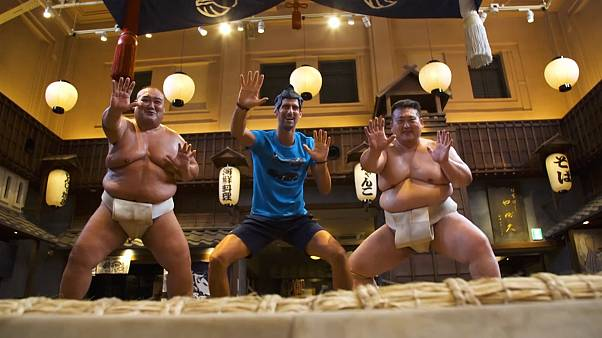 Novak Djokovic tries sumo wrestling ahead of the Japan Open