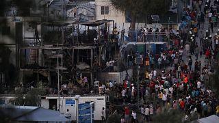 Unruhen nach Brand im Migrantenlager auf Lesbos