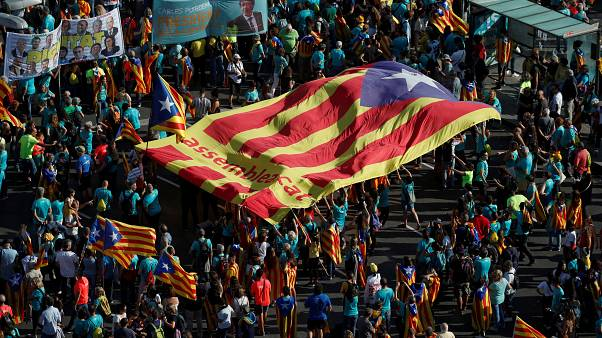 """People hold a giant """"Estelada"""" (Catalan separatist flag) at a rally during Catalonia's national day 'La Diada' in Barcelona, Spain, September 11, 2019."""