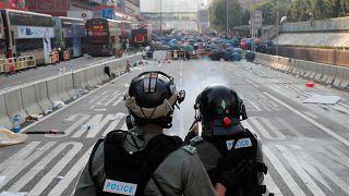 Çin Halk Cumhuriyeti'nin 70. yıl dönümünde Hong Kong eylem alanı