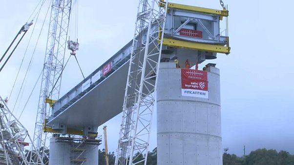 Nouveau pont de Gênes : pose des 50 premiers mètres