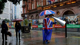 A Brexit protester outside the Conservative Party conference in Manchester, England